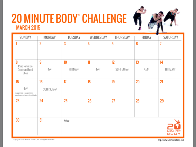 20 Minute Body Challenge Workout Calendar