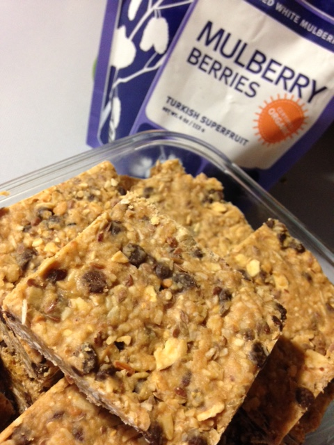 Homemade Navitas Naturals Mulberry Berries Snack Bars with Peanut Butter & Chocolate Chips from Healthy, Fit & Barefoot!