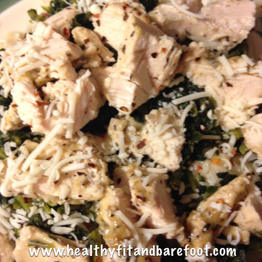 Lemon Pepper Chicken, Brown Rice Pasta & Chopped Kale | Healthy, Fit & Barefoot!
