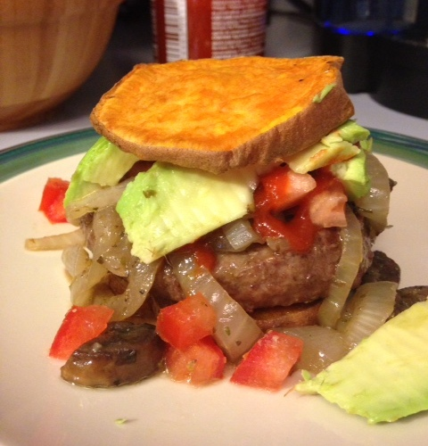 """Healthy, homemade burgers with Sweet Potato """"Buns"""" 