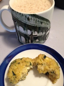 Homemade Mocha Latte with Spinach Feta Quinoa Egg MuffinHomemade Mocha Latte with Spinach Feta Quinoa Egg Muffin
