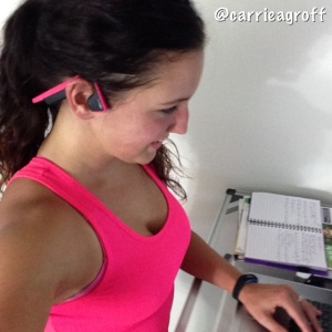 Trekz Titanium Pink Headphones while walking & working on my treadmill | Healthy, Fit & Barefoot!