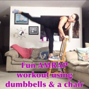 Fun AMRAP workout using dumbbells & a chair | Healthy, Fit & Barefoot!