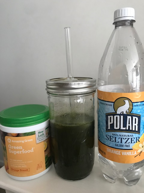 Greens mixed with Orange Vanilla Seltzer | Healthy, Fit & Barefoot!