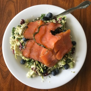 Chopped Kale Salmon Salad with Blueberries | Healthy, Fit & Barefoot!